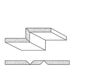 Rigips Faltelemente, 2 x V-Fräsung 90° oben/unten, unverleimt