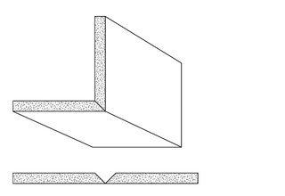 Rigips Faltelemente, 1 x V-Fräsung 90°, unverleimt