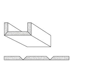 Rigips Faltelemente, 2 x V-Fräsung 90° oben, unverleimt