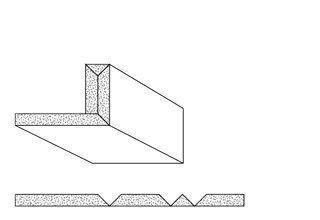 Rigips Faltelemente, 3 x V-Fräsung 90° oben, unverleimt
